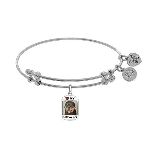 Tiffany Engraved Round Tag - JewelryWeb Brass with White Finish 1.5mm Shiny Round Tube Expandable Dog Tag-Rottweiler Bangle Bracelet