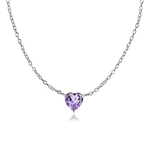 Amethyst Birthstone Heart - Sterling Silver Small Dainty Amethyst Heart Choker Necklace