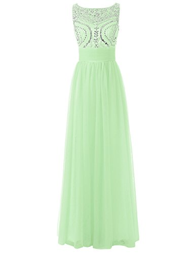 Formal Bridesmaid Long Dress Party Party Dresses JAEDEN Evening Tulle Beading Prom Women's Top Sage Gown 4ESW7z