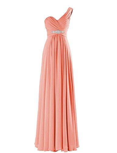 CaliaDress Women One Shoulder Bridesmaid Dress Prom Evening Gowns Long C198LF Peach (Peach Bridesmaids Formal Gown)