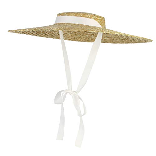 Jelord Women Vintage Boater Straw Hat Wide Brim Flat Top Floppy Derby Straw Hat Beach Sun Hats with Chin Strap Brim:13cm -