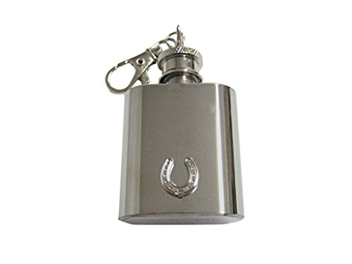 Silver Toned Horse Shoe 1 Oz. Stainless Steel Key Chain Flask
