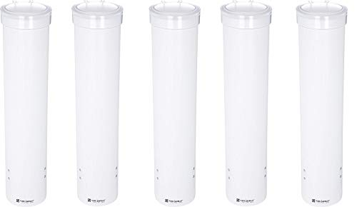 San Jamar C3165WH Medium Pull Type Water Cup Dispenser, Fits 4 to 10 oz Cone and Flat Bottom Cups, 16'' Tube Length, White (5-(Pack))