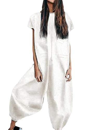 Qiangjinjiu 女性固体Vネック半袖のバギーハーレムジャンプスーツハーレムオーバーオールプレースーツ White M from Qiangjinjiu