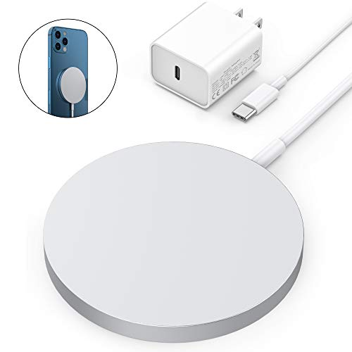 Olunnvi Magnetic Wireless Charger for iPhone 12 Mag Safe Charger Fast Wireless Charging Pad with USB-C 20W PD Adapter Compatible with iPhone 12/12 Pro Max/Mini/AirPods Pro (Ocean Blue)