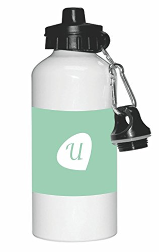 "Rikki Knight Letter ""U"" Initials Hemlock Green Color Petal Leaves Design 20oz Sports Water Bottle Sport Bottle Flip Top with Carabiner"