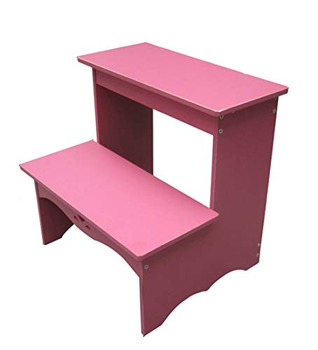 FH 2 Step Wooden Ladder, Children's Stool, Small Stool, Shoe Bench, Shelf, Household Step Stool, 2 Step Stool, Flower Stand, 3 Colors (Color : Pink)