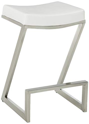 Armen Living LCAT26BAWH Atlantis 26 Counter Height Barstool in White Faux Leather and Brushed Stainless Steel Finish