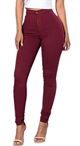 Couleur Maigre Denim Unie Crayon En Décontracté Air Jeans Femmes Fit Plein Haute Elodiey Bouton Taille Ans Stretch Winered 20 Slim Pantalon rdoBWExeQC