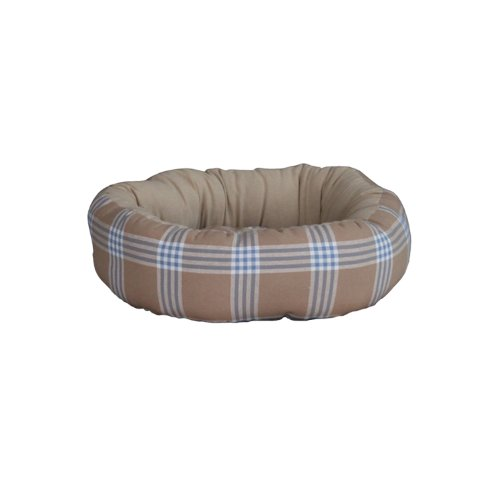 Brown and Blue Plaid Round Dog Bed – Large [28 in x 4 in], My Pet Supplies