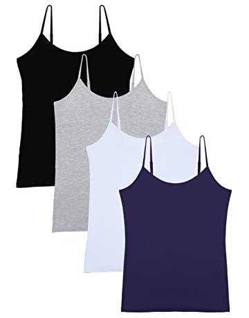 63bcb324ccba50 Vislivin Women s Basic Solid Camisole Adjustable Spaghetti Strap Tank Top