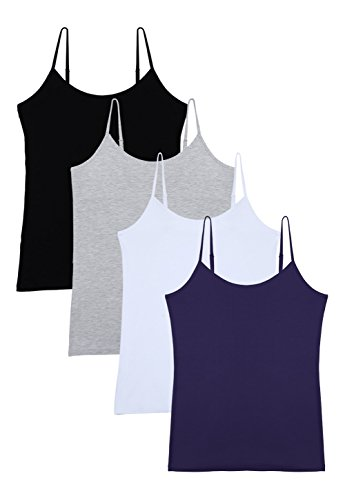 Vislivin Women's Basic Solid Camisole Adjustable Spaghetti Strap Tank Top Black/Gray/White/Dark Blue XL
