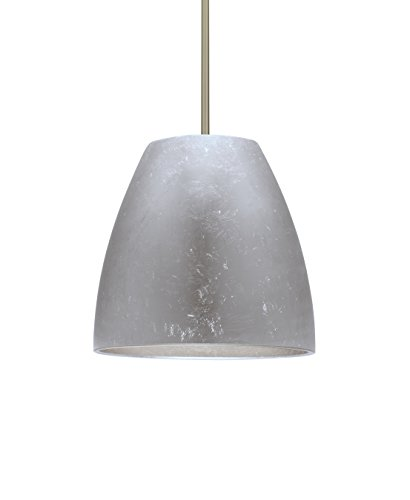 Besa Lighting 1TT-BELL14SF-LED-SN Besa, Bella 14 Stem Pendant, Silver Foil, Satin Nickel Finish, 1x17W Replaceable LED
