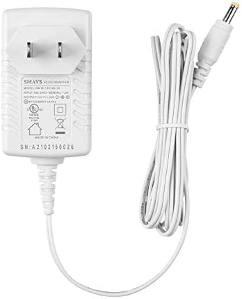 15W Alexa Power Cord Replacement for Dot 3rd Gen, Dot Kids Edition, Dot with Clock, White DC Charger Adapter with 5ft Cable