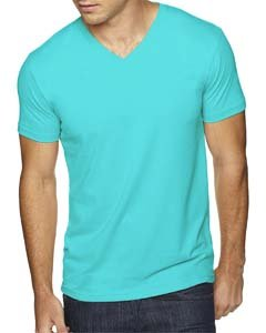 Next Level Apparel 6440 Mens Premium Fitted Sueded V-Neck Tee - Tahiti Blue, - Premium Jersey