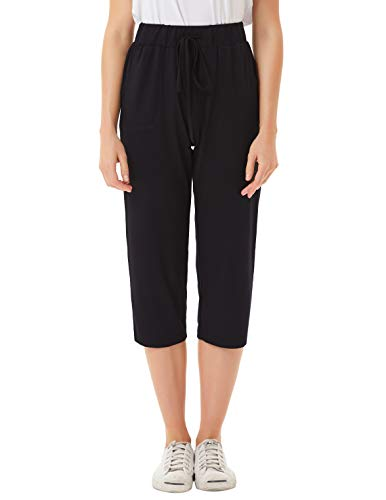 JACK SMITH Women Leisure Sweatpants Drawstring Yoga Capri Cropped Trousers(L,Black) ()