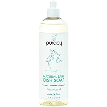 Puracy Natural Baby Dish Soap, Free & Clear, Sulfate-Free Liquid Bottle Detergent, 16 Ounce