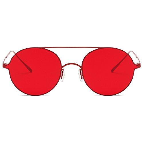Doble Lentes Chic SJ1068 De Gafas Finas Rojo Ligero Redondas Puente SojoS C7 Ultra Unisex Pequeño Sol Rojo Sf7qc8