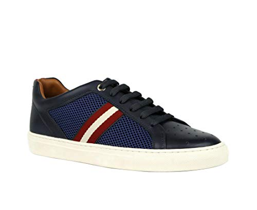 BALLY Men's Blue Calf Leather and Perforated Fabric Sneakers Herk-U-29 (Size: 11)