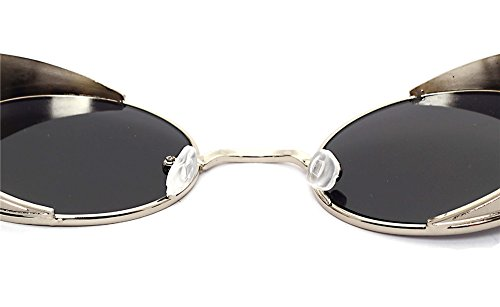 métal bordure Flip Hommes Circle Lentilles Retro ronde up dorée Femmes pour style Punk lentille noir Lunettes à DESESHENME amp; wqXtPTYxx