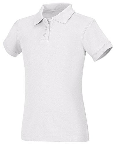 CLASSROOM Juniors Short Sleeve Fitted Polo, White, Small