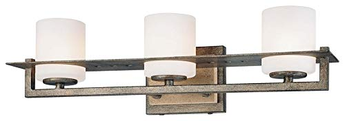 - Minka Lavery 6463-273 Compositions - Three Light Bath Vanity, Aged Patina Iron Finish with Etched Opal Glass