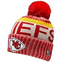 New Era Knit Kansas City Chiefs Red On Field Sideline Sport Knit Winter Stocking Beanie Pom Hat Cap 2015