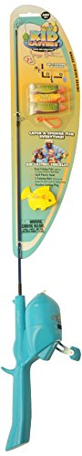 Kid Casters Fishing Kit (Real Rod and Reel Casting Plug Safe Hook and Training Lures)