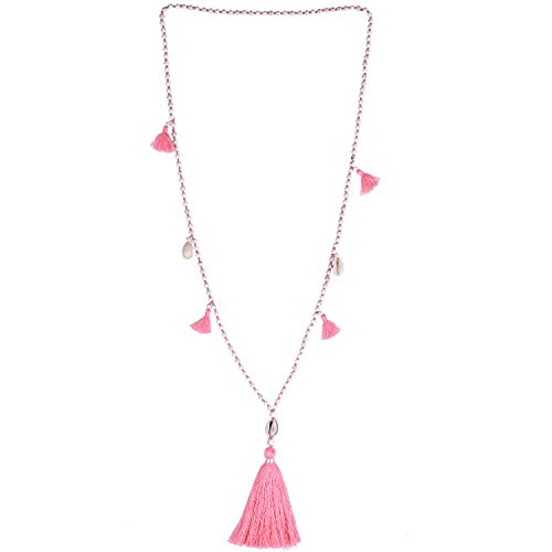 (KELITCH Long Beaded Necklace Bohemia Shell Pendant Tiered Layered Tassel Thread Y Shaped Necklace for Women Girls Pink)
