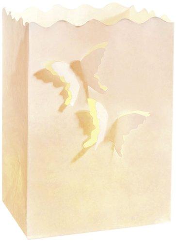Wenko 8539100 Lichtertüte LUMINARIA Schmetterlinge klein  - 10er Set, Windlicht, Pappe/Papier/Zellstoff, 11 x 16 x 9 cm, Weiß