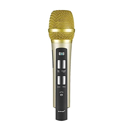 Wireless Car KTV Microphone, Portable Handheld Karaoke Microphone Built in Bluetooth 4.0 FM Transmitter Recording Thanksgiving Gift for Car Stereo Radio Travel Party (Gold) ()