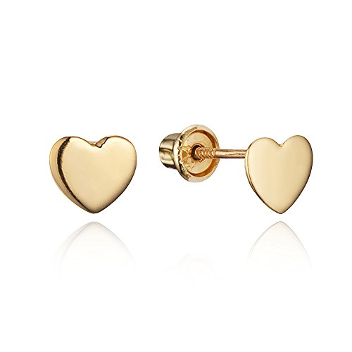14k Yellow Gold Plain Heart Children Screwback Baby Girls Stud Earrings (Baby Gold Stud)