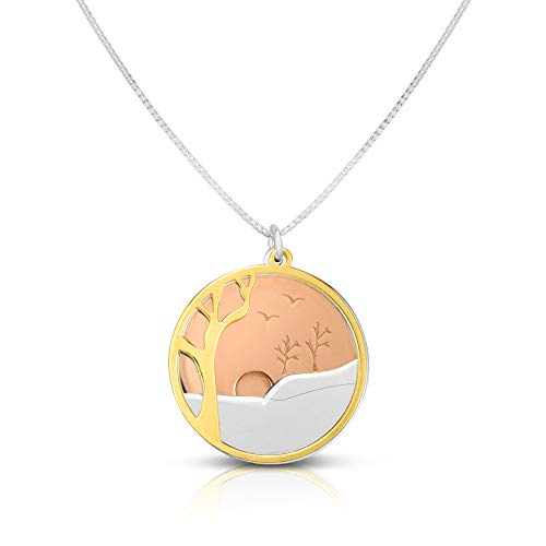 Unique Royal Jewelry Solid Sterling Silver Three-Tone Disks Nature Sunset Pendant and Adjustable Length Necklace.