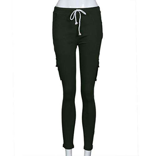 Eleganti Pantaloni Casual da slim donna a Stretch alta Pantaloni vita Pencil Donna Pantaloni Verde elasticizzati Elecenty tUqcnEIw