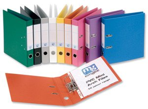 Elba Emgee Mini Lever Arch File PVC 50mm Spine A4 Black Ref 660100 [Pack of 10]