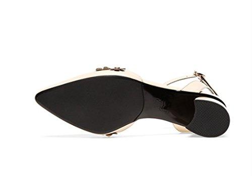 Véritable Talon Taille en Cuir Confortable Beige Printemps en mi 36 LGLFRXZ Chaussures Noir Shallow Cuir Couleur Bouche HJHY qwYIZnv