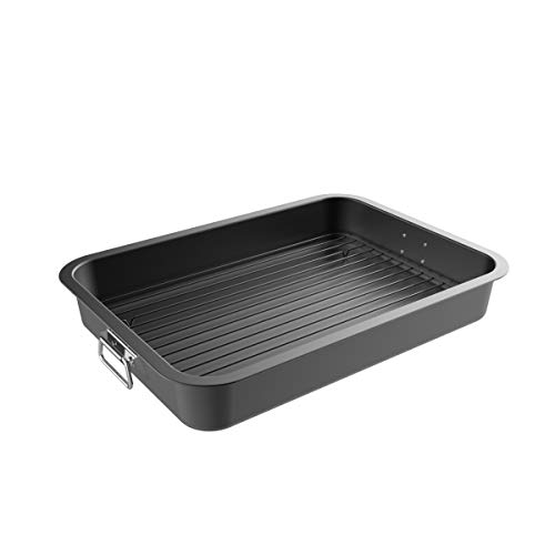 Classic Cuisine 82-KIT1107 Roasting Pan with Flat Rack-Nonstick Oven Roaster and and Removable Tray-Drain Fat and Grease for Healthier Cooking-Kitchen Cookware ()
