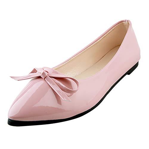 (〓Londony〓 Women's Tali Bow Ballet Flat Comfortable Bow Point Toe Flat Pumps Slip On Shoes Classic Mugara Ballet-Flat Pink)