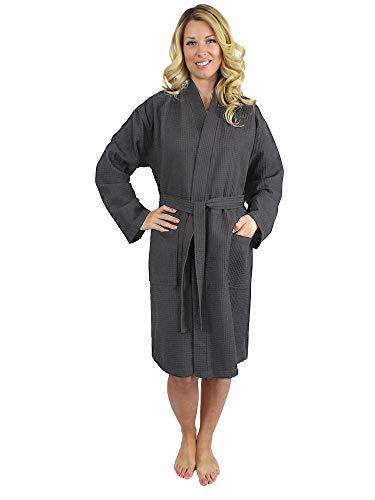 Premium Turkish Cotton Waffle Weave Lightweight Kimono Spa Bathrobe for  Women 641e49f14