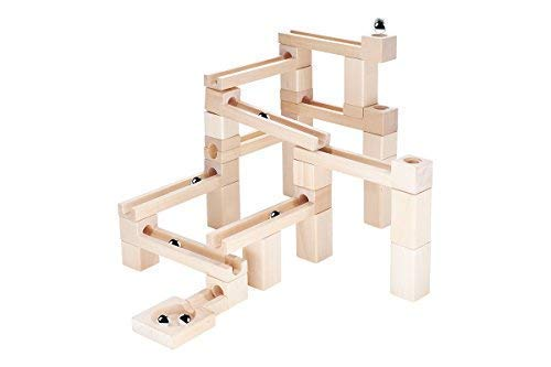 KUBI DUBI Marble Run Sets - Wooden Stacking Toy Show Toddlers Cause and Effect. Building Toys Engage Curiously Who Wins On Race - Tracks. Invest in Your Children Today. (Best Wooden Marble Run)