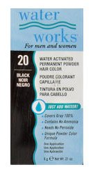 Water Works Permanent Powder Hair Color - #20 Black 0.2 oz. (Pack of 2) Permanent Hair Dye Powder