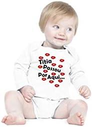 Body Criativa Urbana Bebê Frases Engraçadas e Divertidas Madrinha Dinda Titia Manga Longa