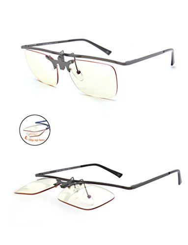 Flip Up Computer Glasses - Gun Metal Brown - Yellow Tinted Lenses Reduce Glare and Black Blue Light - Anti-UV Reflective - With Hard Protective Case - By Optix - Glasses Prescription Tinted Green