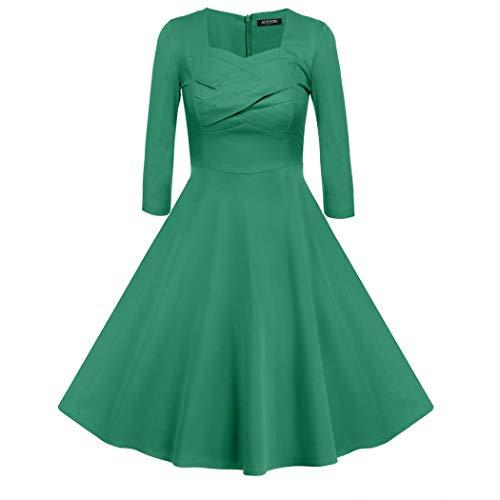 Up Beauty UpBeauty Ramona Subtly Seductive Vintage 50s Inspired 3 4 Sleeve Swing Dress,Green,Medium