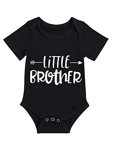 (Newborn Baby Boy Outfits Short Sleeve Romper Little Brother Bodysuit Funny Jumpsuit White Black Clothes Summer (Black, 6-9 Months))