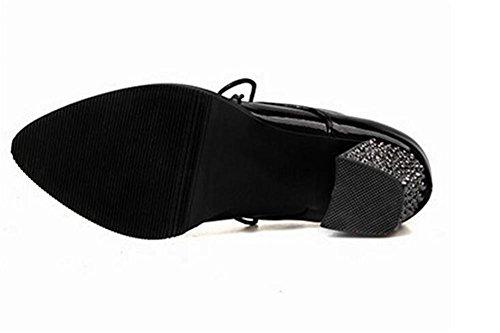 xie Chaussures Femmes Court Rivets Cross Straps Chaussures à Talons Hauts Casual Confortables, 37