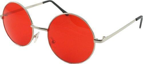 614089786e Gafas grandes estilo Lennon, color rojo: Amazon.es: Ropa y accesorios