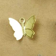 Laliva S100 PCS 11mm13mm Metal Copper Butterfly Filigree Wraps Connectors Charm DIY Jewelry Accessories - (Color: Raw ()