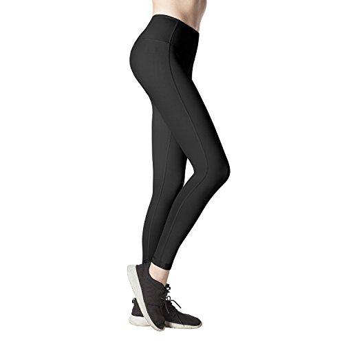 Lapasa Women's Sports Leggings SOFT WIDE WAISTBAND Running Yoga Pants Hidden Pocket L01 (Small, Black)