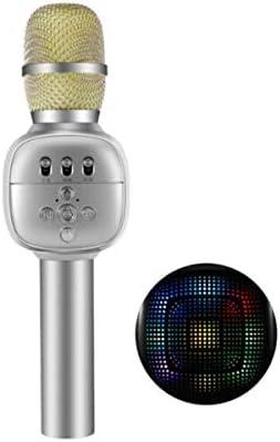 Qiaoxianpo01 カラオケ、ワイヤレスBluetoothマイク、シルバー 。 音がきれいです。 (Color : Silver)